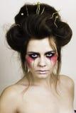 Halloween bilden schönes Modell mit perfekter Frisur Stockfoto