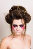 Halloween bilden schönes Modell mit perfekter Frisur Stockfotografie