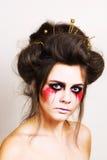 Halloween bilden schönes Modell mit perfekter Frisur retouch Stockfoto