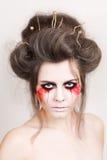 Halloween bilden schönes Modell mit perfekter Frisur retouch Stockfotografie