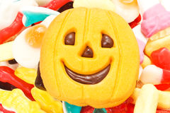Halloween biscuits and candy Stock Image