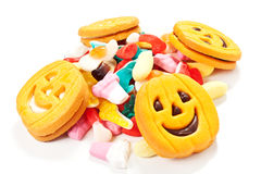 Halloween biscuits and candy Stock Photography