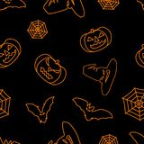 Halloween black background with orange witch hat, bats, web and pumpkins silhouettes festive seamless pattern. Endless background. Vector illustration Stock Photography