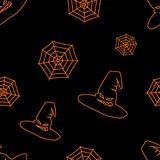Halloween black background with orange witch hat and web silhouettes festive seamless pattern. Endless background. Royalty Free Stock Image