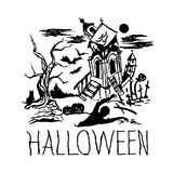 Halloween black castle with tree and zombie. Vector illustration Vector Illustration