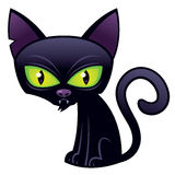 Halloween Black Cat. Vector cartoon illustration of a Halloween Black Cat with green eyes stock illustration