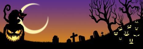 Halloween BLACK cat CEMETARY pumpkins gravestones Royalty Free Stock Image