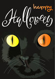 Halloween black cat with colored eyes. Halloween handwritten lettering. Vector illustration. EPS10 Stock Photography