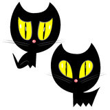 Halloween black cat icons Stock Images
