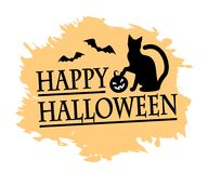 Halloween and black cat. Inscription of a happy halloween, silhouette of a black cat and a pumpkin and a background of an orange spot Royalty Free Stock Image