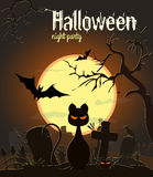 Halloween black cat on old cemetery, vector illustration. Stock Photo