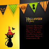 Halloween black cat panel background Stock Images