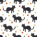 Halloween black cat pattern Stock Image