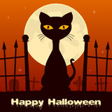 Halloween Black Cat in a Scary Cemetery Royalty Free Stock Image