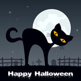 Halloween Black Cat in a Scary Graveyard Royalty Free Stock Photos