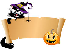 Halloween black cat scroll banner Stock Image