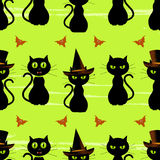 Halloween black cat seamless background Royalty Free Stock Photos