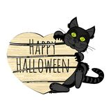 Halloween black cat with a sign Stock Image