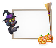 Halloween Black Cat Sign Stock Photos