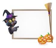 Halloween Black Cat Sign. Illustration of a Halloween black witch's cat sign background Stock Photos