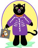 Halloween Black Cat with Skeleton Costume Stock Images