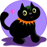 Halloween Black Cat with a Star Royalty Free Stock Photography