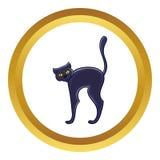 Halloween black cat vector icon Stock Image