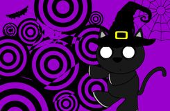 Halloween black cat witch background4 Royalty Free Stock Image