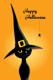 Halloween black cat in a witch hat. Vector illustration for children of a cute black cat in a witch hat. Design for a greeting card with text Happy Halloween Stock Photos