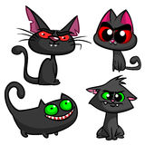 Halloween black cats set. Vector witch cats icons Royalty Free Stock Photography