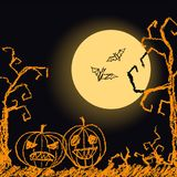 Halloween black dark background with spooky naked trees, moon, bat and pumpkin. Crayon, chalk pastel or pencil hand drawn simply grunge horror illustration Stock Photo