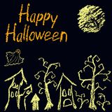 Halloween black dark background with spooky witch, moon, naked trees, haunted old house and happy halloween text. Crayon, chalk pastel or pencil hand drawn Stock Images