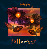 Halloween5. Black flowers and bats. This is file of EPS10 format Stock Photography