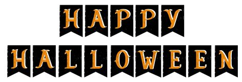 Hand Drawn Grunge Happy Halloween Vector Bunting Flags. stock illustration
