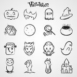 Halloween black icon set. Collection. and illustration Royalty Free Stock Photography