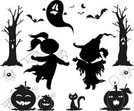 Halloween black vectors for kids. Halloween black icon set. Two girls with witch masks, creepy trees,jack-o-lanterns, black cats, spiders, bats and a ghost Stock Photos