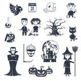 Halloween Black Icons Stock Photography