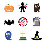 Halloween black icons set - pumpkin, witch, ghost. Scary black icons set for Halloween party Royalty Free Stock Photos