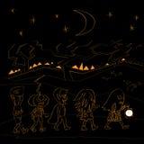 Halloween black night walk Royalty Free Stock Photos