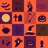 Halloween black  and orange icons set. Bright squares. Royalty Free Stock Photo