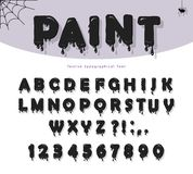 Halloween black paint slimy font. Paper cut out cartoons. Halloween black paint slimy font for kids. Paper cut out cartoons. For posters, banners, room royalty free illustration