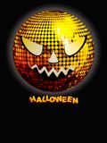 Halloween disco ball with decorative text on black Stock Photography