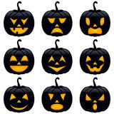 Halloween Black Pumpkins Collection Stock Photo