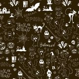 Halloween black seamless pattern with icons Stock Photography