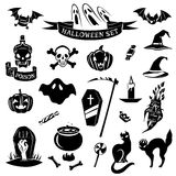 Halloween black set. Set of halloween icons. Halloween black set. Vector Icons Royalty Free Stock Photo