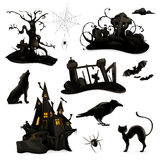 Halloween black silhouettes. Set with Halloween vector black silhouettes, isolated on white background Royalty Free Stock Photo