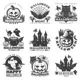 Halloween Black White Emblems Royalty Free Stock Images