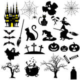 Halloween black and white icons set. Royalty Free Stock Images