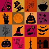 Halloween black  and yellow icons set. Bright squares. Stock Photo