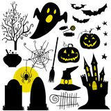 Halloween black and yellow icons set. White backdrop. Royalty Free Stock Image